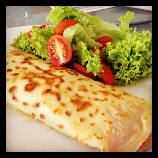 Ham, avocado and vintage cheddar cheese crepe