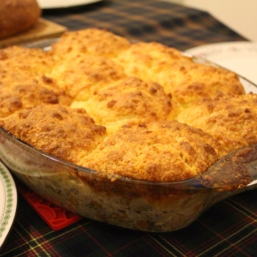Turkey Pot Pie with Cheddar Biscuit Crust