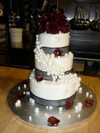 Custom-design 'Roses and Pearls' Wedding Cake