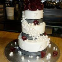 Custom-design 'Roses and Pearls' Wedding Cake